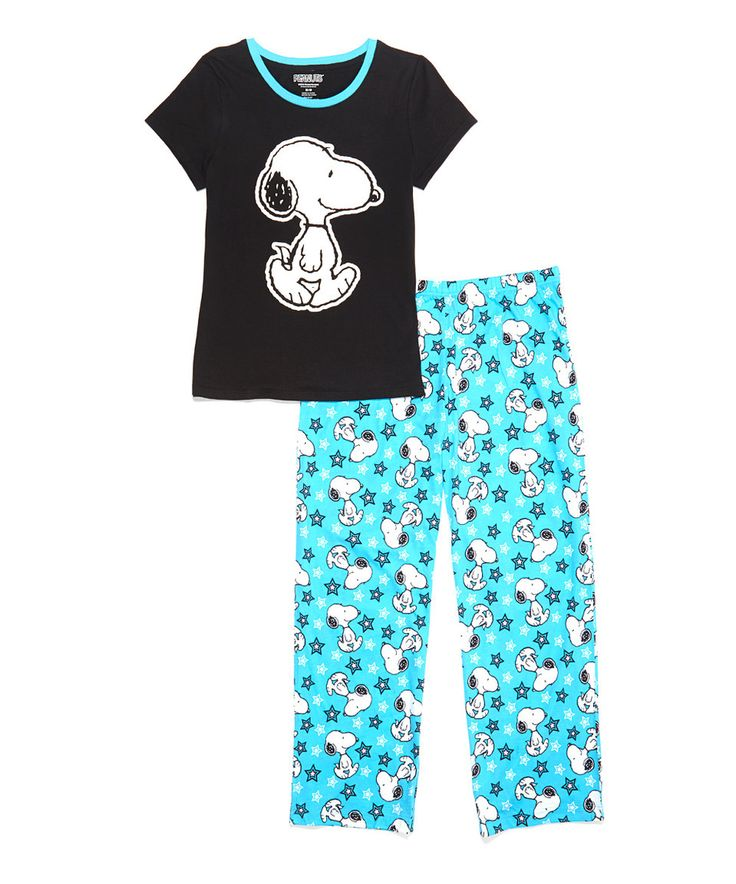 Another great find on #zulily! Black & Blue Snoopy Pajama Set - Juniors by Peanuts by Charles Schulz #zulilyfinds
