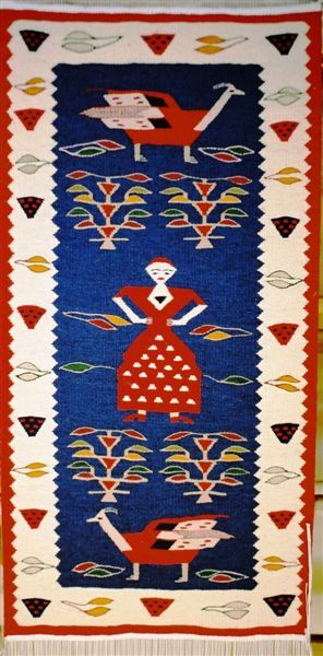 Handmade romanian traditional rug runner - Covor romanesc traditional lucrat manual