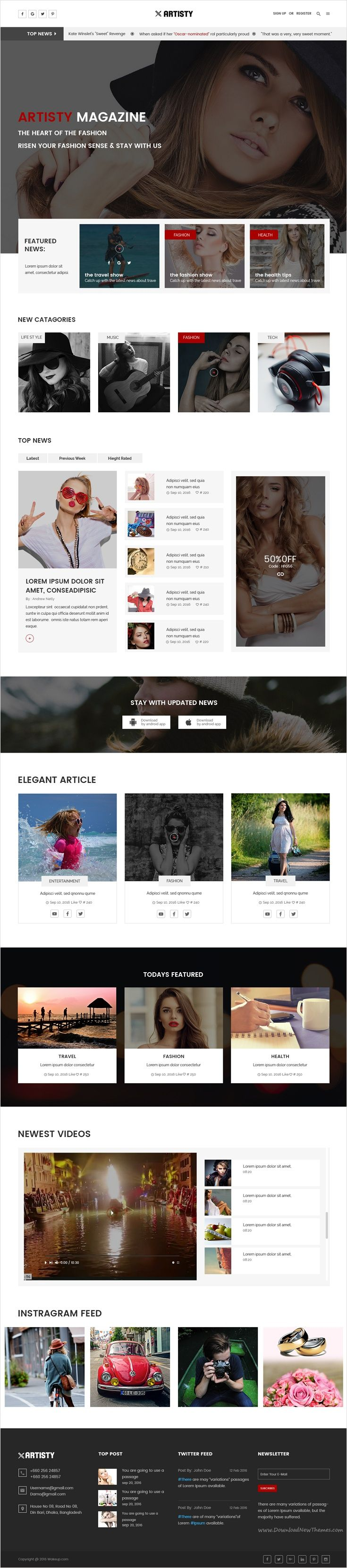 Artisty is a awesome 2 in 1 #PSD #template for online #magazine, blog or news website download now➩ https://themeforest.net/item/artisty-magazine-psd-template/18516287?ref=Datasata