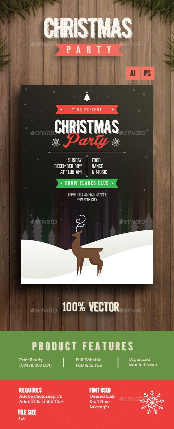 Christmas Party — Photoshop PSD #christmas flyer #red • Available here → https://graphicriver.net/item/christmas-party/13683323?ref=pxcr