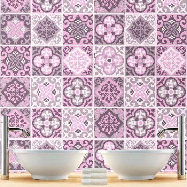 Adhesivos para azulejos - Vinilo Azulejos para Cuarto de Baño Patrones Rosa - hecho a mano por Wall-Decals en DaWanda
