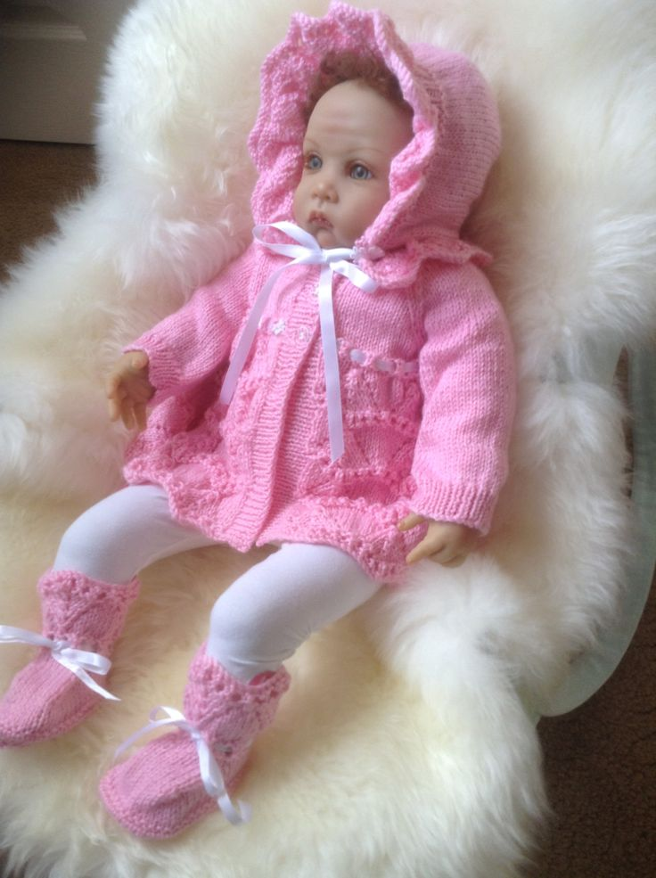 Baby Matinee Coat, Frill Bonnet and Booties Set in Pink to fit 3-6 month Ready to Ship Now by Meganknits4charity on Etsy
