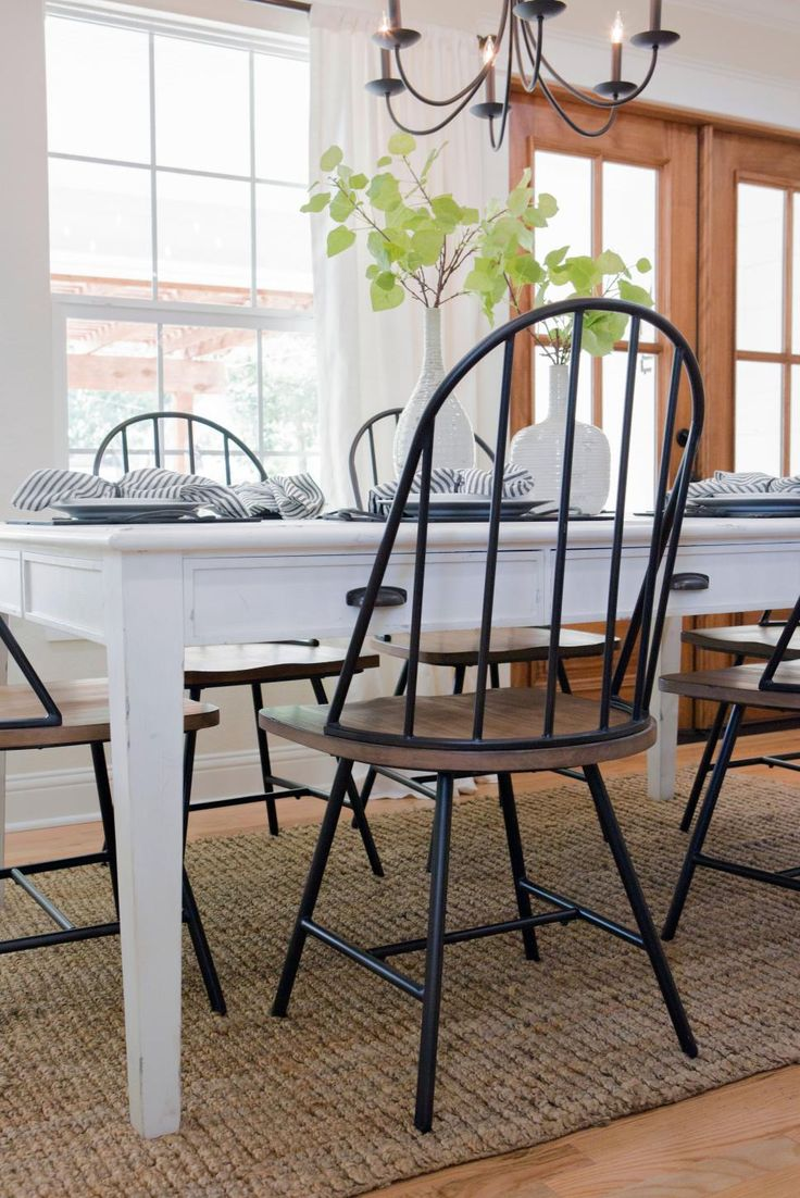 Best 25 farmhouse table chairs ideas on pinterest for Farmhouse dining room table set