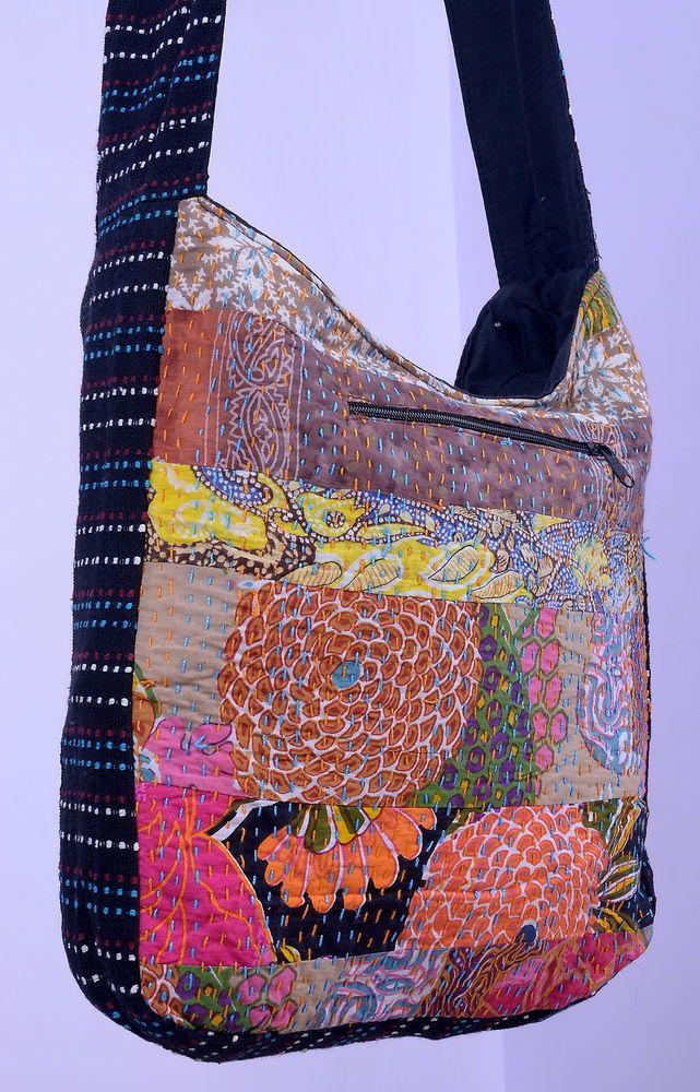 Vintage Indian Ethnic Gypsy Hippie Jhola Bag Gorgeous Kantha Tote Shoulder Bag #Handmade #ShoulderBag