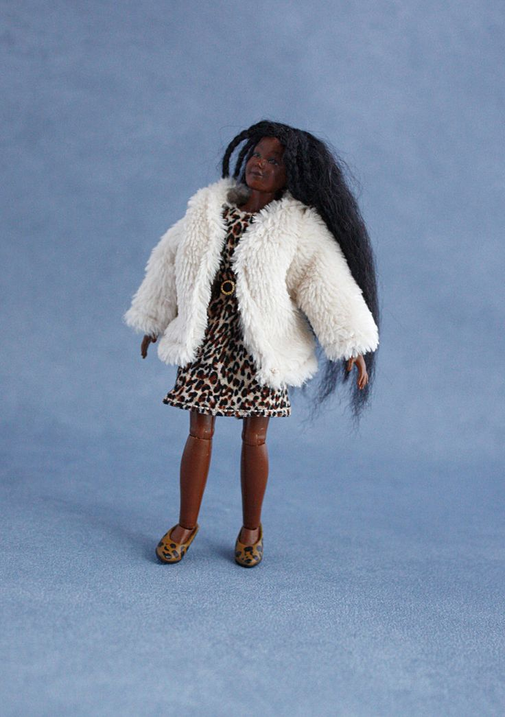 "Wearable dollhouse furry jacket, dress and belt for 1/12 Heidi Ott 5.5"" slim doll. Free shipping!"