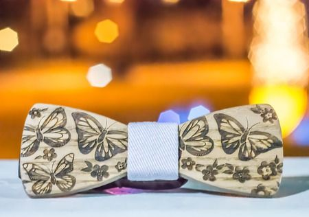 Rustic wedding. Wooden bow tie. Butterflies. Be inspired by @theinspirassion