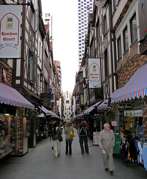 View of the shopping precinct in London Court, Perth, Western Australia