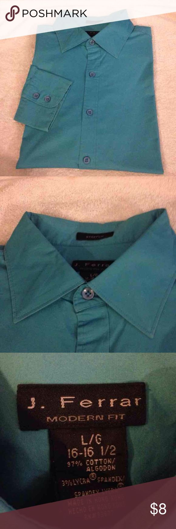 J Ferrar Solid Teal Turquoise Shirt L 16-16.5 J Ferrar Solid Teal Turquoise Modern Tailored Fit Dress Shirt size 16-16.5 34/35! Great condition! I welcome offers and love bundling! Just post in the comments what items you want and I will combine them for you with the deal and one shipping price! J. Ferrar Shirts Dress Shirts