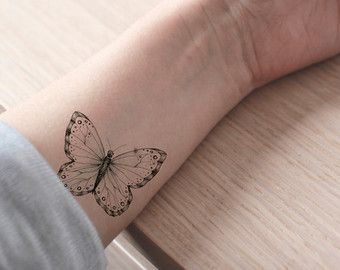 Floral butterfly tattoo / fake tattoo / black and white