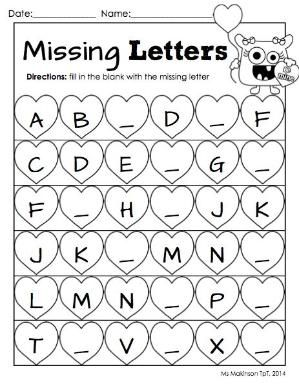 February Printable Packet - Kindergarten Literacy and Math. Missing letter worksheet for Valentine's Day. by alhely