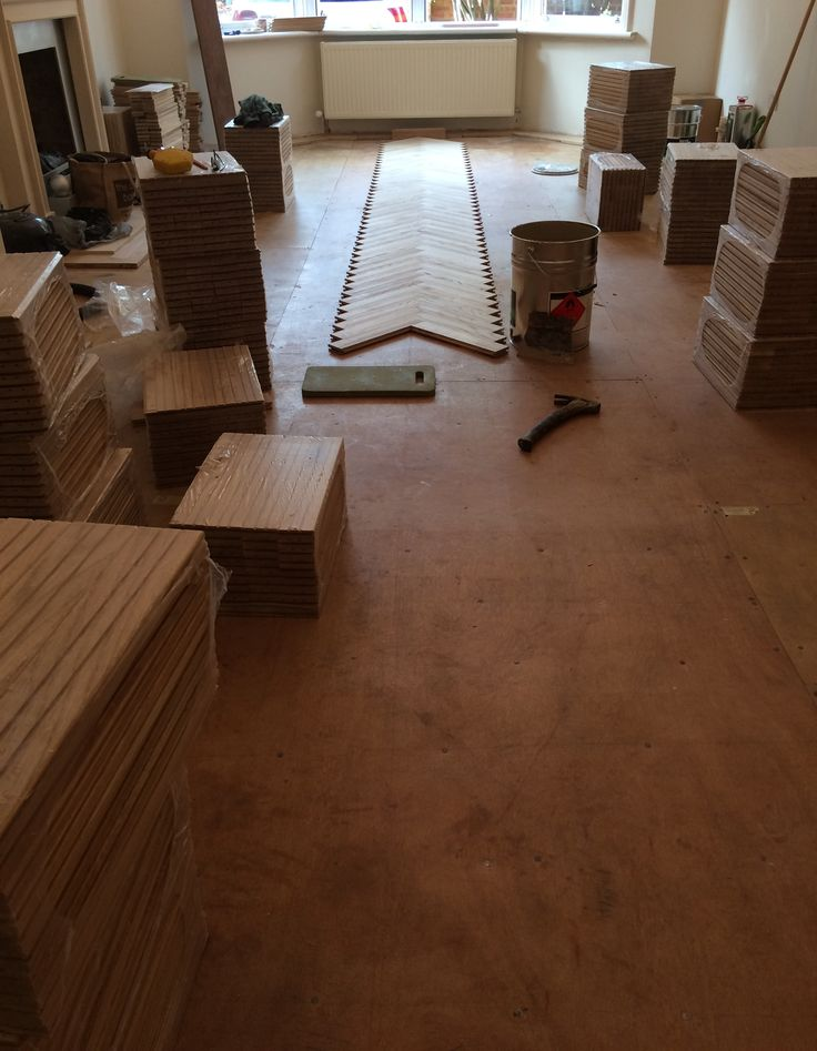 First stages of laying an Herringbone parquet pattern