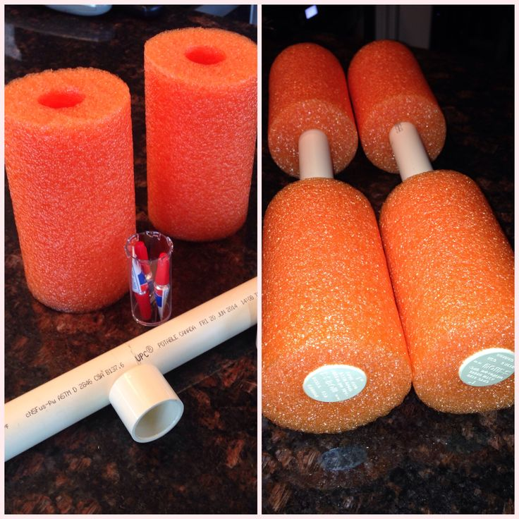 """DIY water dumbbells - made with 1"""" PVC pipe, end caps, foam noodle and crazy glue. Each dumbbell is 15"""" long with 11"""" of foam."""
