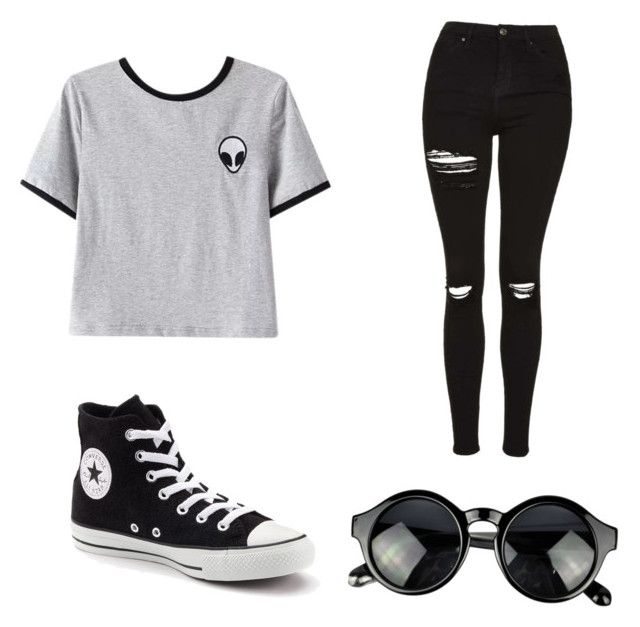 """Tumblr"" by mariimolly ❤ liked on Polyvore featuring Chicnova Fashion, Topshop and Converse"