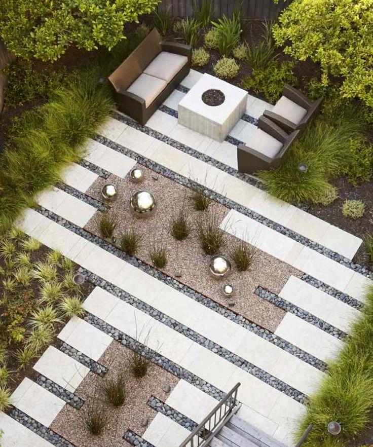 amenagement-jardin-moderne-galets-ardoises-salon-jardin aménagement jardin moderne