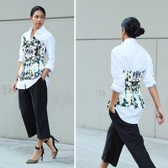 Madewell Button Down Shirt, Finders Keepers Bustier, French Connection Uk Culottes, Dolce Vita Ankle Strap Heels