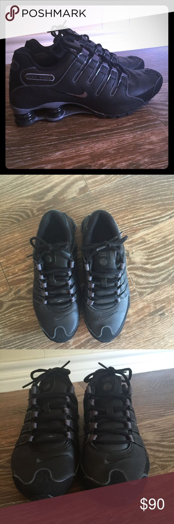 Nike shocks Black nike shocks. Only worn 3 times so they are practically new! There a men's shoe but a women's 9/ 9.5.  Super cute and comfy asking 90 Obo Nike Shoes Sneakers