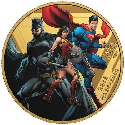 2018 CANADA $100 14KT GOLD UNITED WE STAND - THE JUSTICE LEAGUE (TAX EXEMPT)