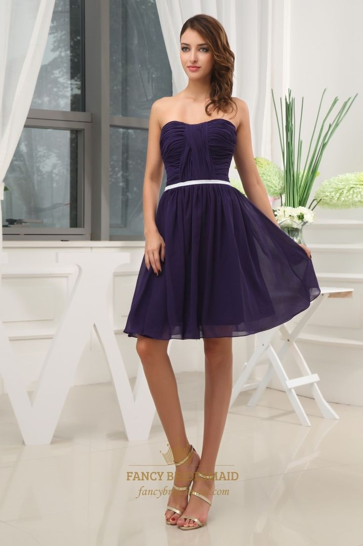 50 best top 100 dark purple bridesmaid dresses images on pinterest fine pleated natural waist dress with chiffonstyle ombrellifo Image collections