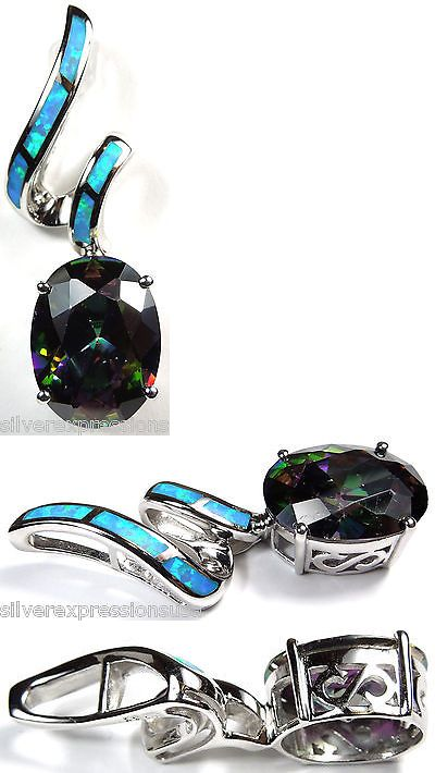 Necklaces and Pendants 110655: Rainbow Topaz And Blue Fire Opal Inlay 925 Sterling Silver Pendant For Necklace BUY IT NOW ONLY: $49.0