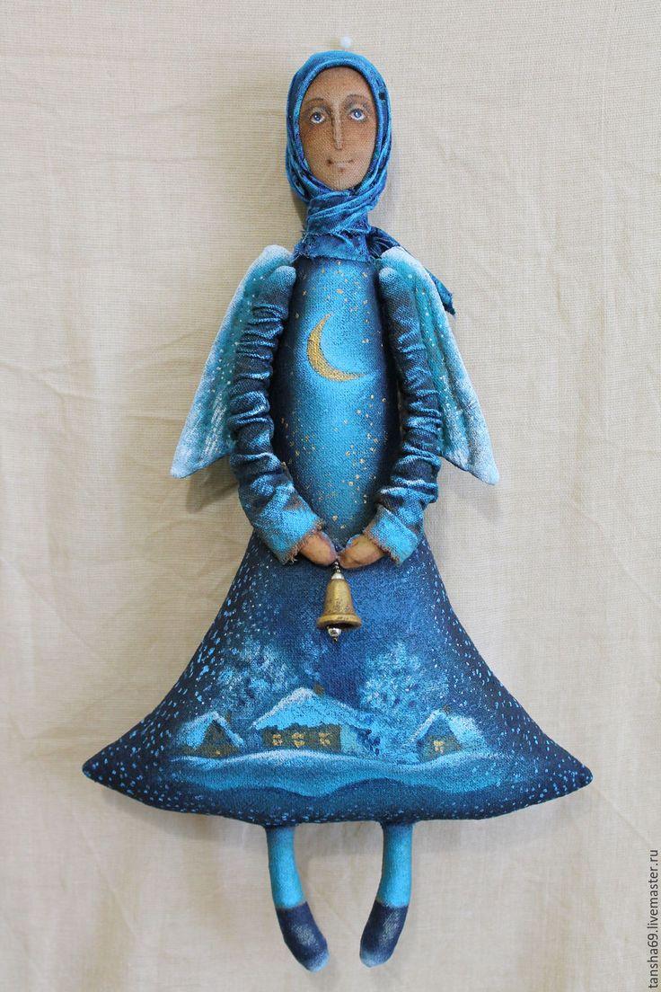 Купить В лунном сиянии...Ангел - синий, текстильная кукла, ароматизированная кукла, интерьерная игрушка