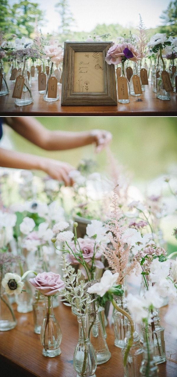 Wild flower escort card table, Vermont barn wedding by spruce floral, Boston  via style me pretty