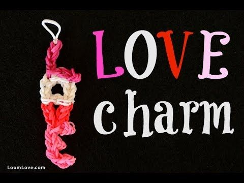 Rainbow Loom LOVE Charm. Designed and loomed by Loom Love. Click photo for YouTube tutorial.