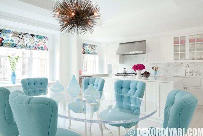 turkuaz renkte masa sandalye takımı modelleri mutfak dekorasyonları fikirleri