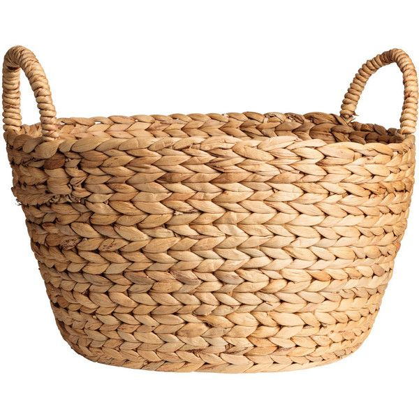 round water hyacinth basket ❤ liked on Polyvore featuring home, home decor, small item storage, round basket and water hyacinth basket
