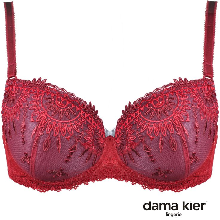 Biustonosz i figi z pięknego, bordowego haftu. Bra and panties made from a burgundy lace