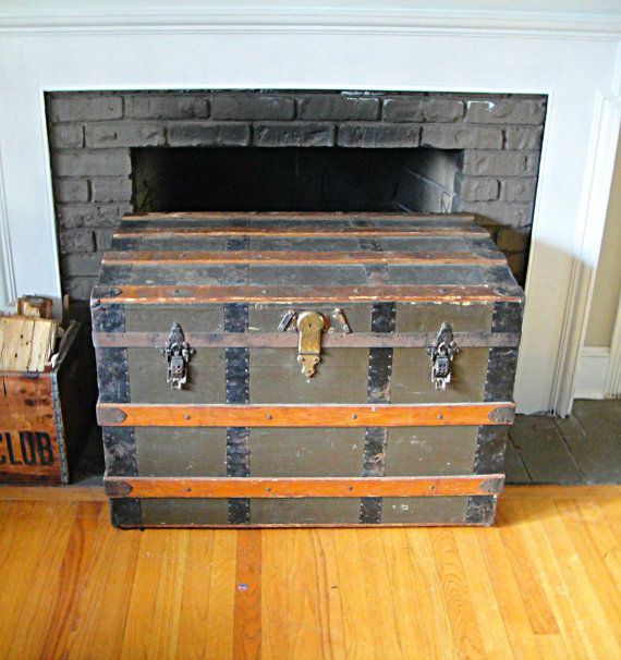 1870 39 s steamer trunk antique trunk stagecoach trunk vintage chest coffee table Old trunks as coffee tables