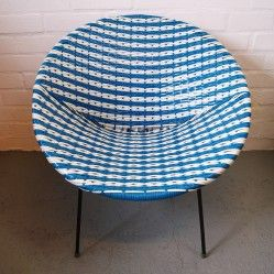 Mid century bucket chair in blue and white at vintageactually.co.uk