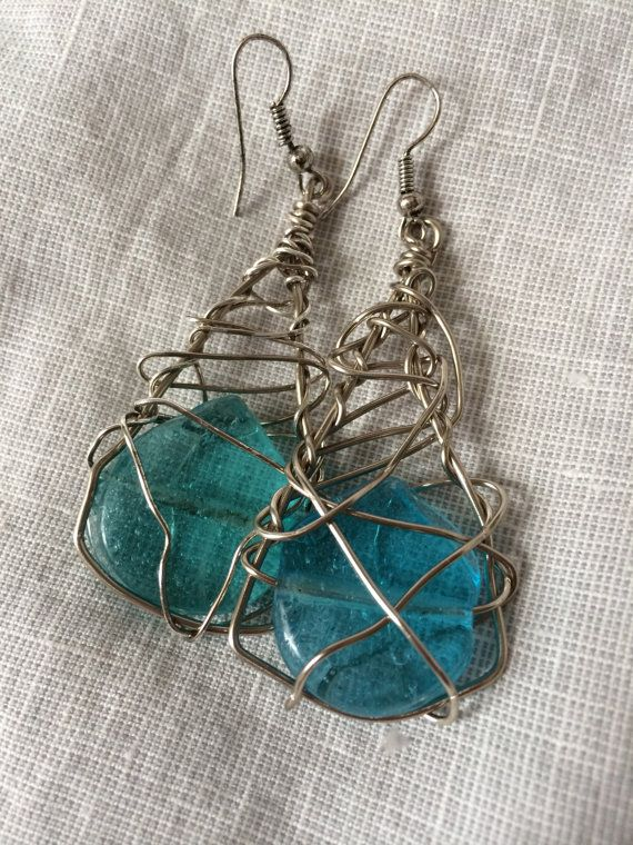 Wire Wrapped Earrings with India Glass Wire by RainasTextileHouse, $36.00