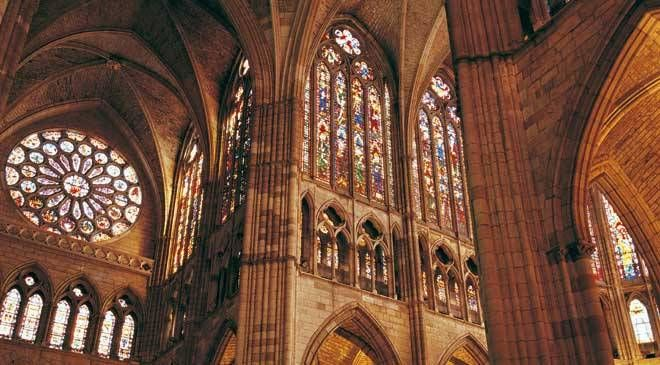 nterior of León cathedral, with its spectacular stained-glass windows
