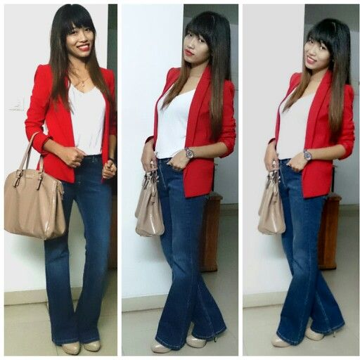 Dinner date... A basic white shirt n bootleg jeans. To give a polish look add on a blazer
