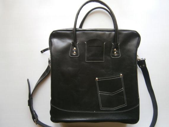 Business Laptop Messenger Bag Handmade Black Laptp by 74streetbags, $139.00