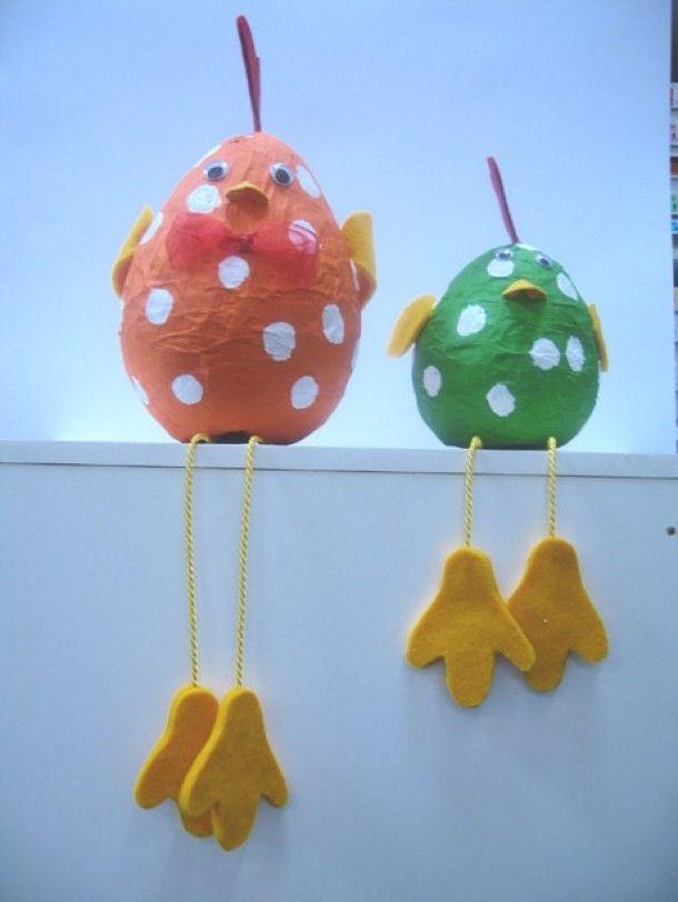 Leuk om zelf te maken | Paasei-vogels papier mache Door knutselmien