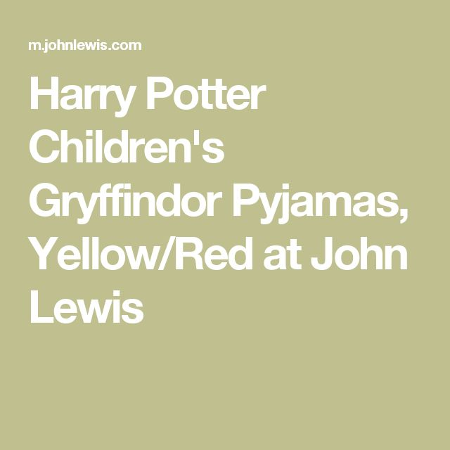 Harry Potter Children's Gryffindor Pyjamas, Yellow/Red at John Lewis