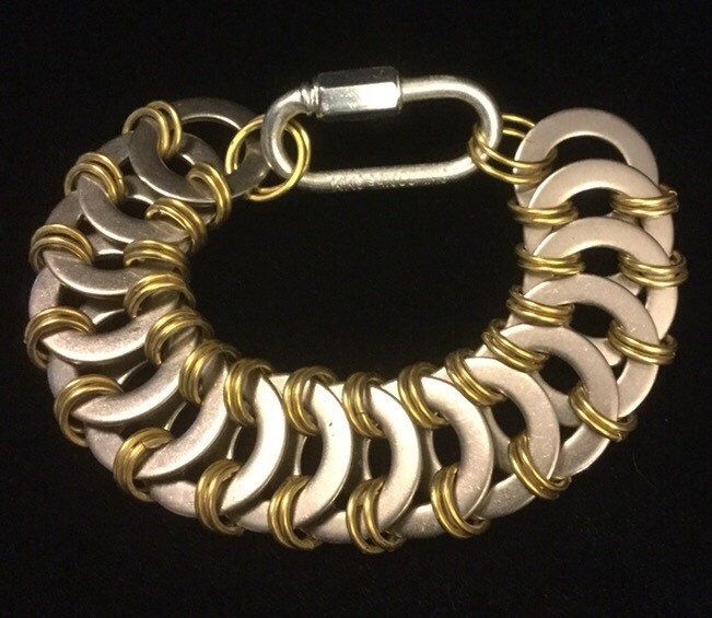 Stainless steel washer and brass bracelet, industrial Chainmaille bracelet, steampunk jewelry, stainless steel jewelry, hardware jewelry by thewatsonswares on Etsy https://www.etsy.com/listing/255910112/stainless-steel-washer-and-brass