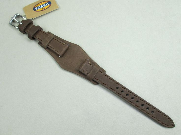 Fossil 14mm lady's genuine leather watch band strap cuff bikers brown S141042 #Fossil