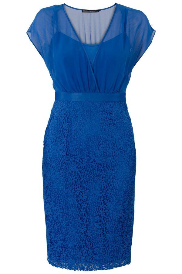 Jurk met kanten rok en v-hals Blauw