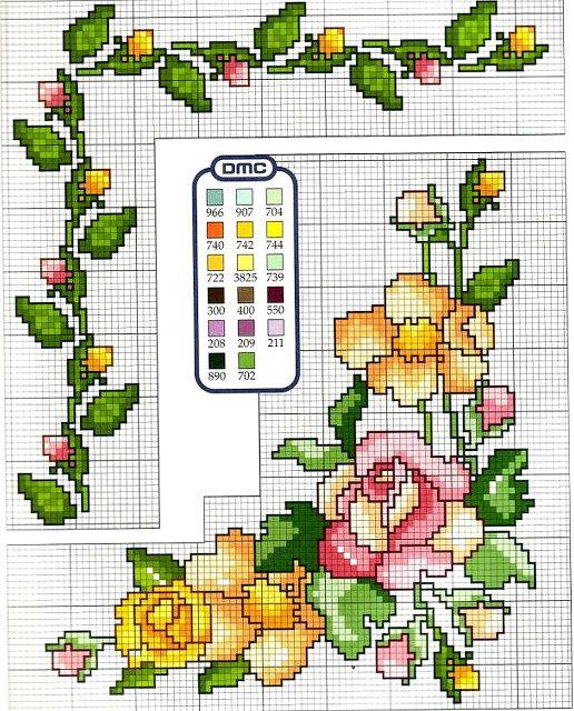 Ricami, lavori e centinaia di schemi a punto croce di tutti i tipi, gratis: Schema punto croce con mazzo di rose per tovaglie