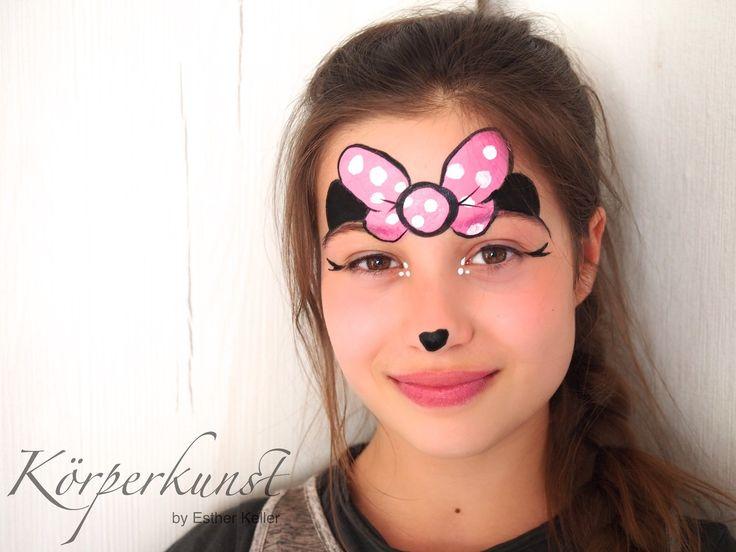 Facepainting Minnie Maus Minnie Mouse Bow Schleife Eyedesign Kinderschminken extreme xtreme Fasching Fastnacht Karneval Make Up Deutschland Germany Körperkunst by Esther Keller