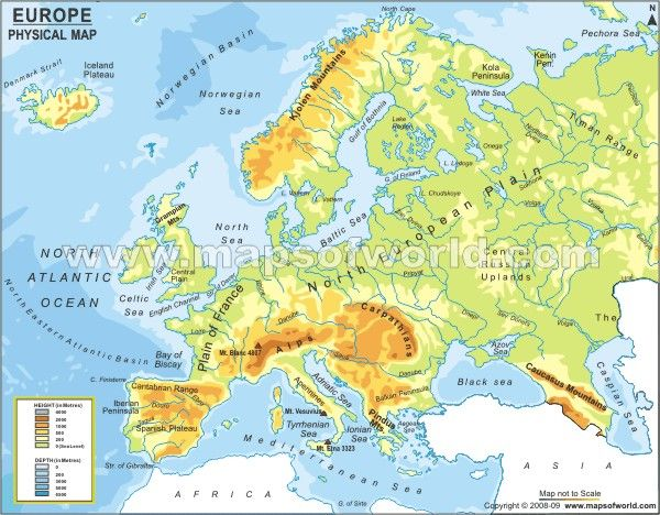 Physical Map of Europe: