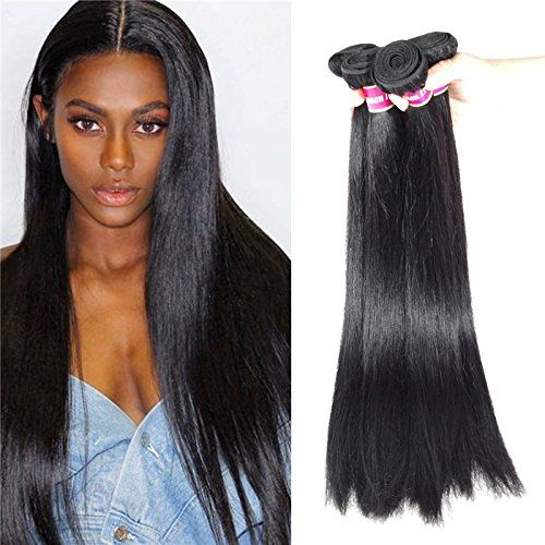 BLY Hair 4 Bundles(16 18 20 22inches)100% Peruvian Straight Virgin Human Hair Weave Hair Extensions 6A Grade Quality Natural Black Color Full Head (400g Total)