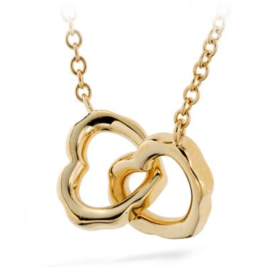 Hearts On Fire Lorelei Interlocking Heart Necklace This romantic necklace is a beautiful symbol of love and friendship with two interlocking hearts at the focal point. It features one delicate diamond on the chain for the perfect touch of sparkle.