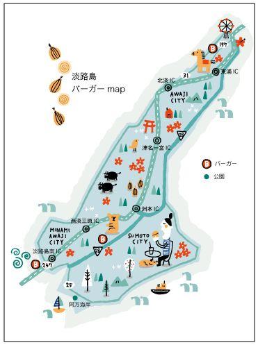 Illustration-map Awaji Island in Japan 淡路島のイラスト
