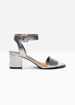 & Other Stories | Silver Snake Embossed Leather Sandalette