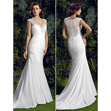 Wedding Dress Trumpet Mermaid Court Train Charmeuse V Neck With Crystal Detailing and Beading Appliques – USD $ 199.99