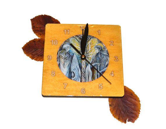 Small square wall clock elven art handmade clock by JankaLart