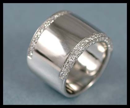 white gold wide diamond womens band  What do you want your ring to be like  Waiting for the